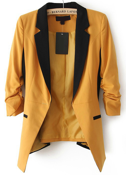 Dark yellow contrast notch lapel long sleeve blazer [bl140623]