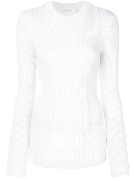 Victoria Beckham top ribbed top women white wool