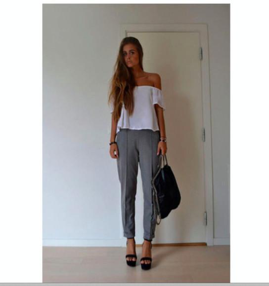 top topshop blouse t-shirt white t-shirt bag pants high heels white shoulder top