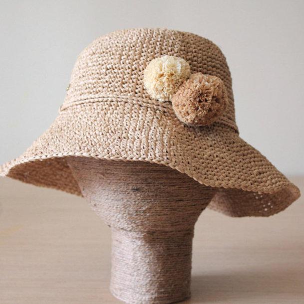 ccbbcf24e9743 hat sun hat raffia raffia hat raffia pom pom packable hat beige floppy hat  straw hat