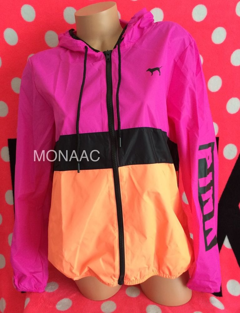 Secret PINK Orange Logo Anorak Windbreaker Jacket Full Zip NWT XS/S