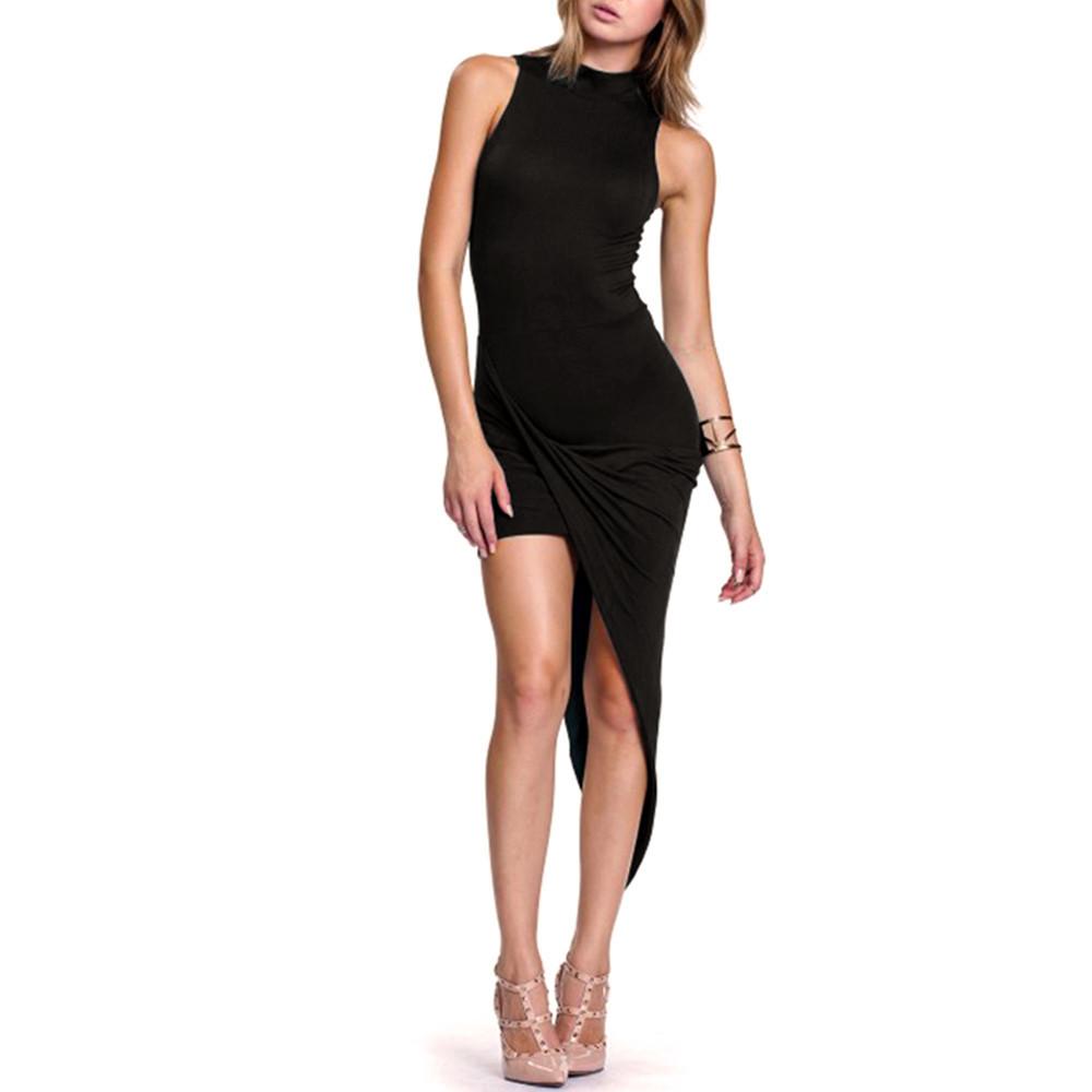 Black mock neck draped dress