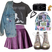 skirt,crystal castles,purple,black,velvet,backpack,goth,indie,jeans,crop tops,boots,DrMartens,pale,grunge,t-shirt,bag,jacket,shoes