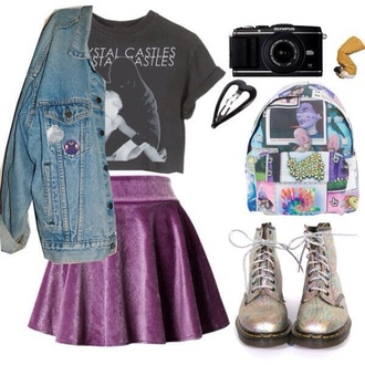 skirt crystal castles purple black velvet backpack goth indie jeans crop tops boots drmartens pale grunge t-shirt bag jacket shoes