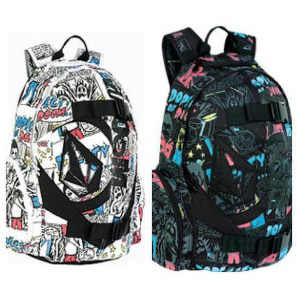 colorful bag back to school backpack bookbag comic skateboard skateboarding skaters volcom