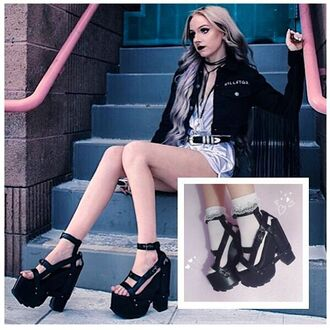 shoes zooji black platforms platform sandals edgy fashion yru shoes style trendy cute sexy fashionista model blogger yru
