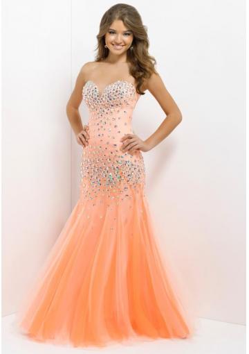 Wholesale 2014 Sey Mermaid Style Over All Rhinestones Orange Tulle Long Prom Dresses/ Formal Dress Blush Style 9755 - Cheap Long Prom Dresses - Hellopromdress.net