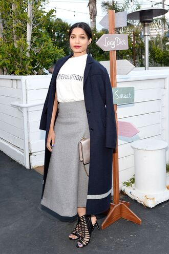 skirt midi skirt top freida pinto coat sandals spring outfits