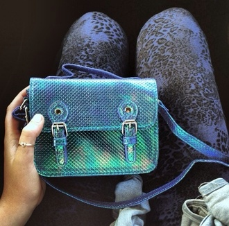 bag purse green shiny iridescent bag iridescent blue