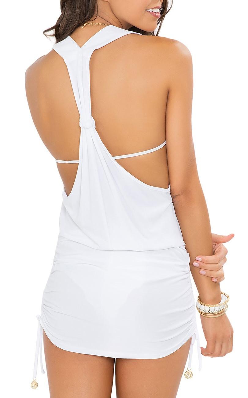 Luli Fama White T-Back Mini Dress