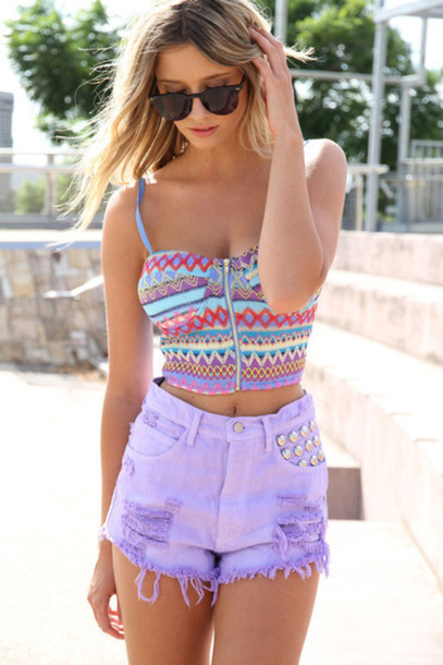 tank top bralette shirt crop tops aztec buster cropped blouse purple top crop tops shorts t-shirt purple tribal pattern High waisted shorts top crop tops atzec pattern colorful summer pretty indie tumblr hipster