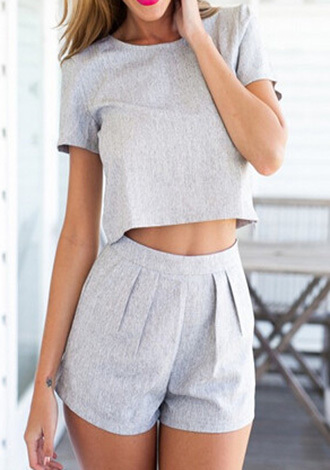 tank top grey short sleeve two piece set two-piece grey women sexy short sleeve