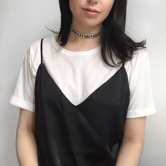 jewels nastygal choker necklace silver chain satin slip t-shirt fashion style trendy