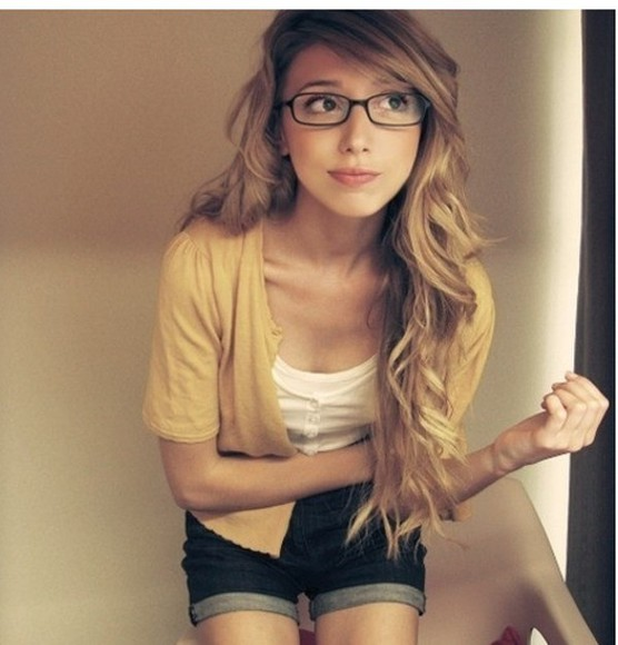 cardigan yellow yellow cardigan geek hipster glasses geek chic white t-shirt white button up top top