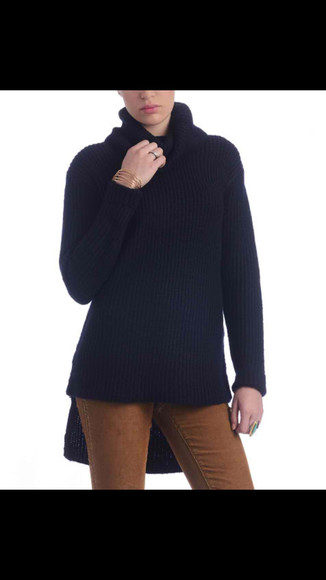 sweater turtleneck high-low high low winter sweater black black sweater