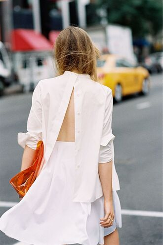 shirt white shirt backless