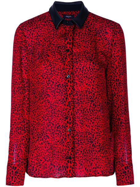 Amiri shirt women print silk leopard print red top