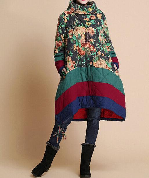coat padded printed coat