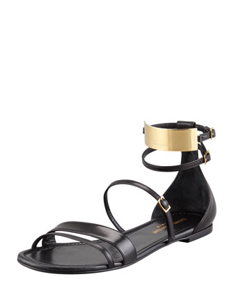 Saint Laurent Strappy Leather Ankle-Plate Sandal - Bergdorf Goodman