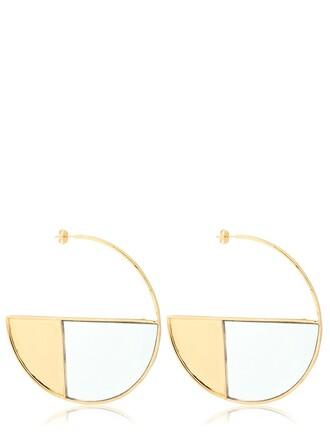 earrings hoop earrings gold white jewels