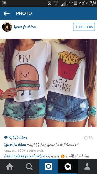shirt white top best friend shirts hamburger fries