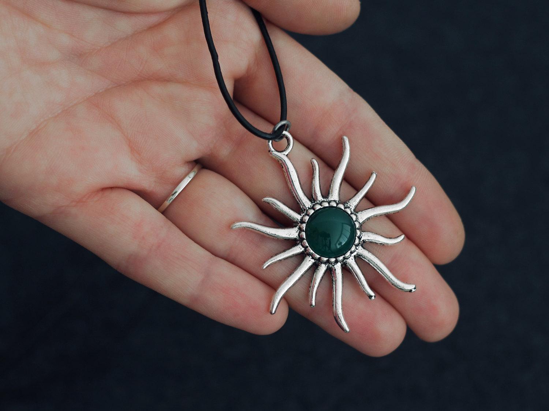 Sun Choker Necklace Pendant Statement Locket Cord Collar