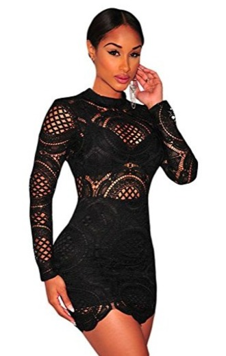 dress black dress lace net crochet awards long sleeves mini dress
