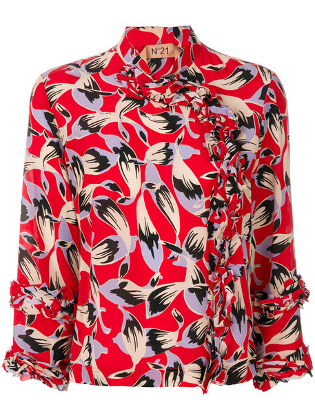 No21 blouse printed blouse women silk red top