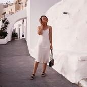 dress,silk laundry,slip dress,ivory dress,silk,white dress,summer,summer holidays,summer outfits,greece,spaghetti strap