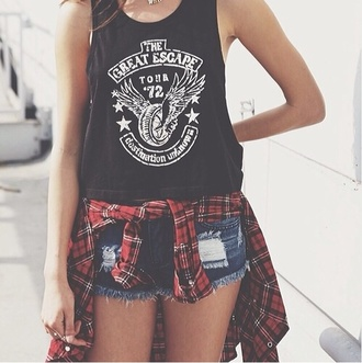 tank top jacket shirt blouse the great escape flannel t-shirt shorts summer shorts summer outfits tumblr shorts demin shorts dark blue denim