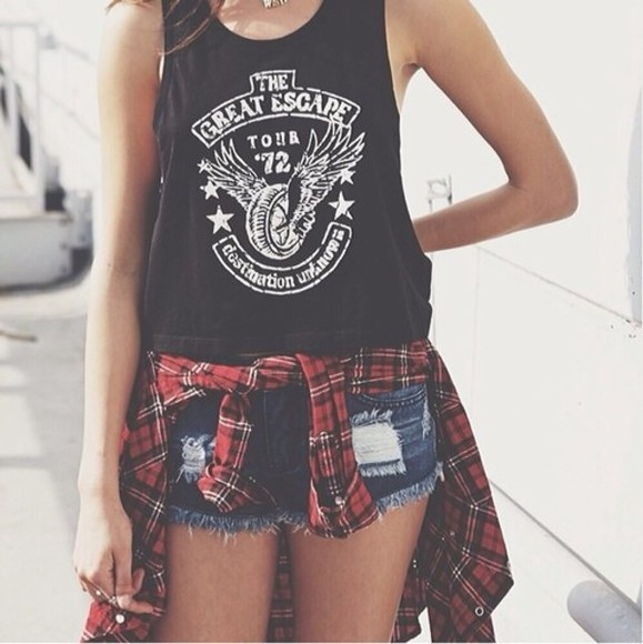 t-shirt flannel shorts summer shorts summer outfits tank top jacket shirt blouse
