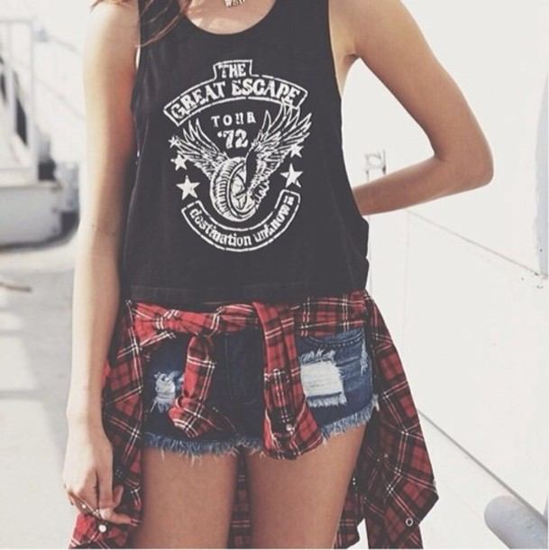 tank top jacket shirt blouse the great escape tank top flannel t-shirt shorts summer shorts summer outfits tumblr shorts demin shorts dark blue denim