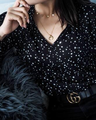 shirt tumblr stars necklace gold necklace gold jewelry jewels jewelry crescent pendant pendant gucci gucci belt logo belt printed shirt gold
