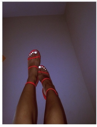shoes red heels open toes strappy sandals