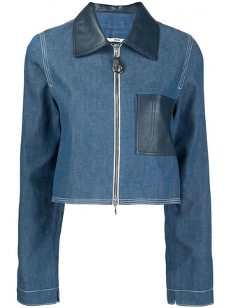 jacket cropped jacket denim cropped blue