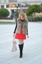 something delightful,blogger,jacket,skirt,jewels,shoes,faux fur vest,winter outfits,handbag,knee high boots,red skirt,grey fur vest