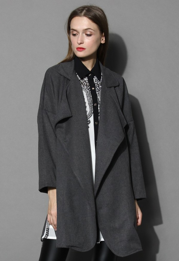 chicwish mist waterfall drape coat grey coat
