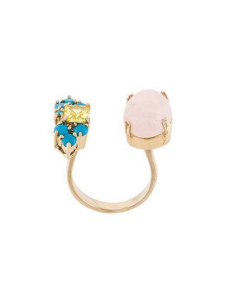 rose women ring gold grey metallic jewels