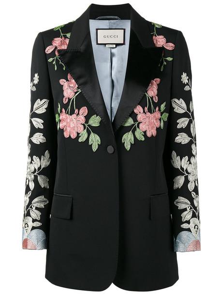 blazer embroidered women spandex floral black silk wool jacket