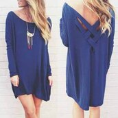 dress,blue,blue dress,sweater,sweater dress,blue sweater,streetstyle,streetwear,cheap sweaters,off the shoulder sweater,off the shoulder,batwing,style,back to school,scoop neck,hipster,summer dress,cute dress,short dress,loose,cut-out,long sleeves,long sleeve dress,necklace,statement necklace,jewelry,blonde hair,oversized