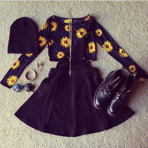 combat boots boots crop tops sunflower skirt beanie hat cropped sweater sunglasses summer outfits