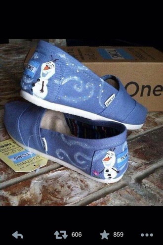 shoes toms frozen olaf snow blue toms
