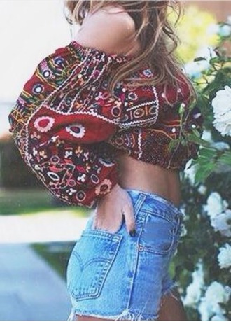 shirt boho chic gypsy-style top crop tops india love black belly shirt belly top red shirt. love this & her hair!! red shirt