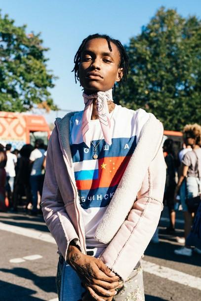 top afropunk festival festival top music festival festival looks festival clothes bandana menswear boy printed t-shirt shearling jacket