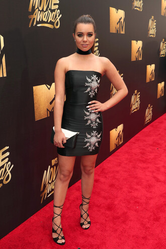 mini dress strapless strapless dress lace up heels bodycon dress choker necklace mtv movie awards jewels necklace black choker jewelry