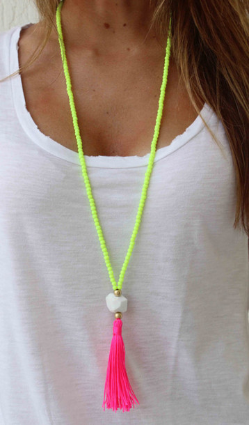 jewels pink yellow neon necklace tassel chain