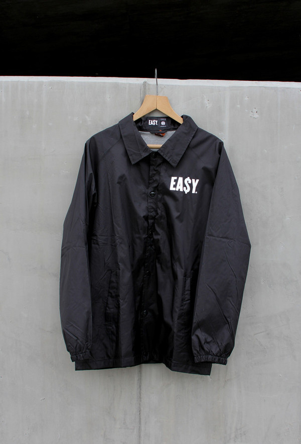 Jacket: ea$y, clothes, windbreaker, coat, black, white, streetwear ...