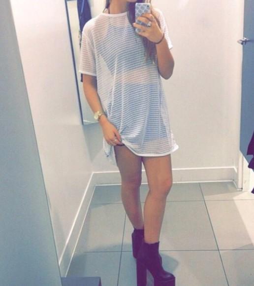 dress mesh white dress white