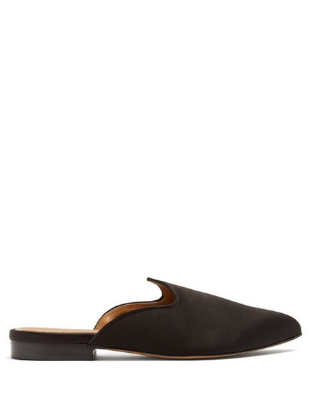 Le Monde Beryl - Venetian Backless Satin Slipper Shoes - Womens - Black