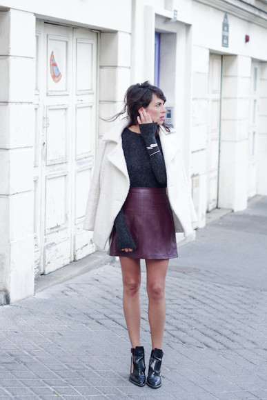 fashion is a playground blogger jewels leather skirt cut out ankle boots coat jumper